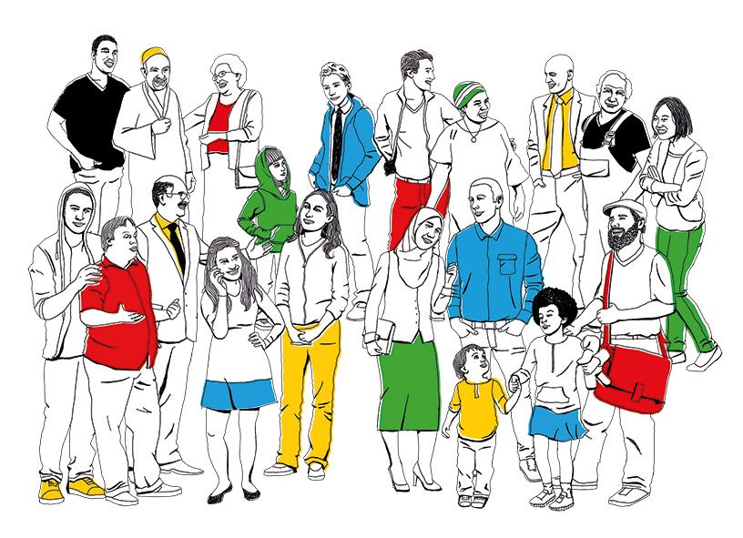 Grafik mit vielen unterschiedlichen Menschen, mehrere Farben symbolisieren eine bunte Gesellschaft