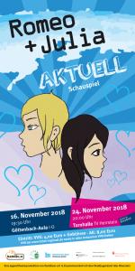 Ein Plakat auf dem 2 junge Gesichter gezeichnet sind, mit Herzen und darunter die Termine für die Aufführung