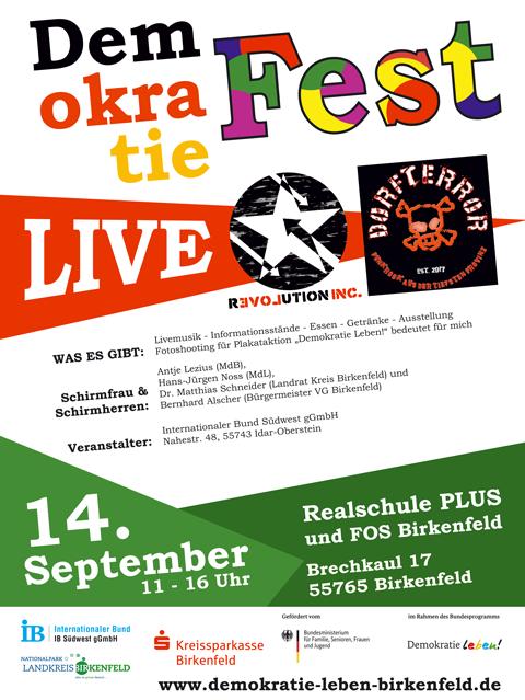 Plakat: Demokratie Fest, Live: Revolution inc. Dorfterror, am 14. September 11-16 Uhr an der Realschule Plus & FOS Birkenfeld