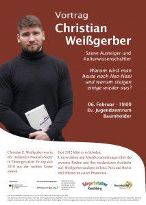 Plakat zeigt Christian Weißgerber mit Buch in den Händen.