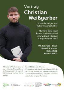 Plakat zeigt Christian Weißgerber mit seinem Buch in den Händen