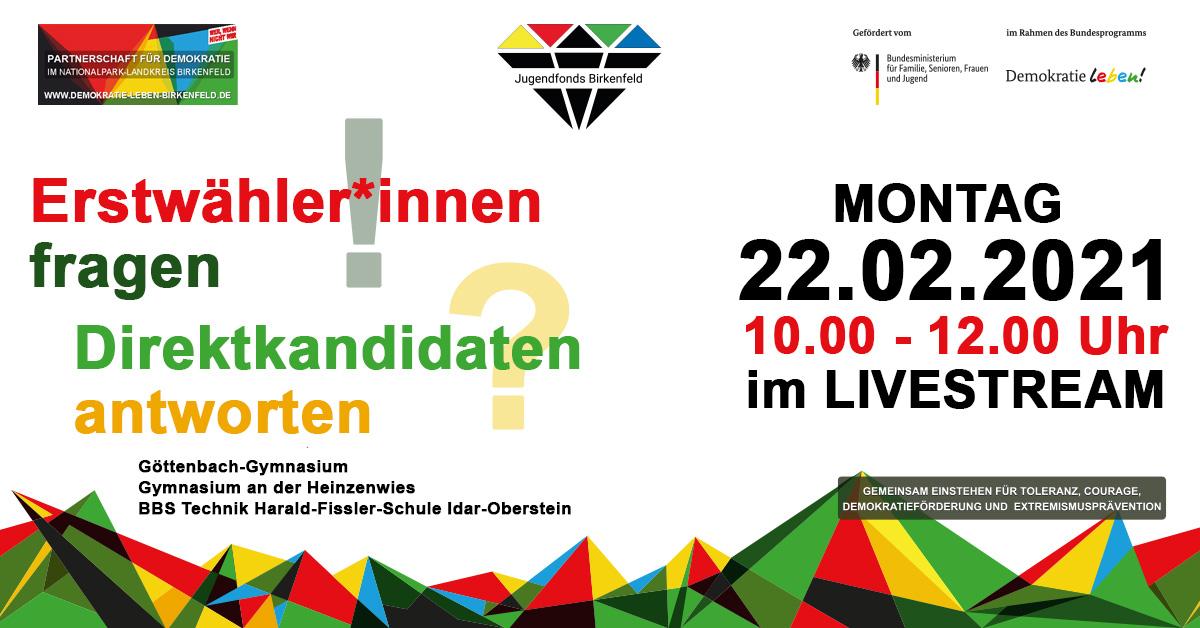 Text: Erwählerinnen fragen Direktkandidaten antworten - Montag 22.02.021. 10-12 Uhr im Livestream